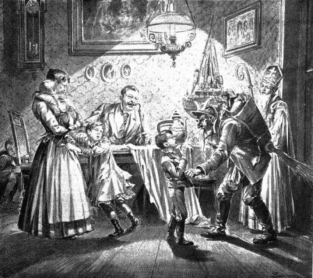 Watching the children get chastised is part of the Krampus fantasy (Nikolaus and Krampus in Austria; newspaper-illustration from 1896).