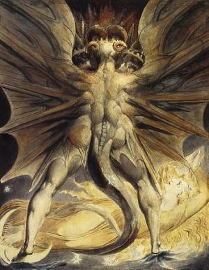"""The Red Dragon and the Woman Clothed with the Sun"" by William Blake, 1803-5 [Public domain], via Wikimedia Commons"