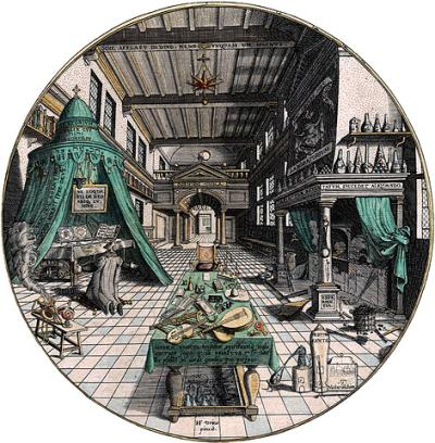 Alchemist's laboratory, Hans Vredeman de Vries, 1595 [Public domain], via Wikimedia Commons