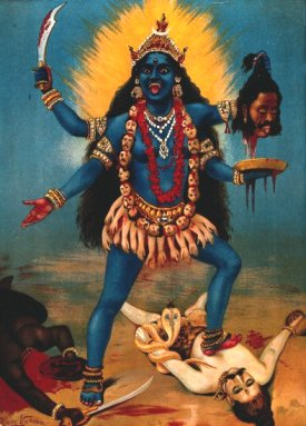 The goddess Kali, by Raja Ravi Varma [Public domain], via Wikimedia Commons